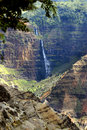 Canyon and waterfall at Waimea Stock Image