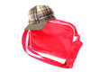 Cap and bag bright red green Stock Photo