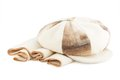 Cap and beige scarf isolated on white background Royalty Free Stock Photography