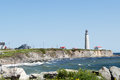Cap des rosiers lightstation this lighthouse is located on the gaspe peninsula quebec canada at the mouth of the st lawrence river Stock Images
