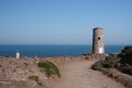 Cap frehel lighthouse france english channel Royalty Free Stock Photo