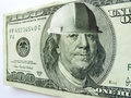 Capacete de segurança vestindo da construção de ben franklin one hundred dollar bill Fotografia de Stock Royalty Free