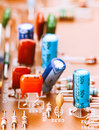 Capacitors resistors and other electronic components mounted on motherboard Royalty Free Stock Image