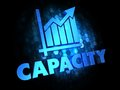 Capacity concept on dark digital background with growth chart blue color text Stock Photos