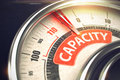 Capacity - Text on Conceptual Balance with Red Needle. 3D. Royalty Free Stock Photo