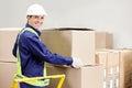Capataz holding cardboard box en warehouse Foto de archivo libre de regalías