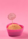 Capcake cupcake in the shape of a heart in a pink form Stock Photo