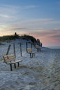 Cape Cod Beach Benches At Sunset