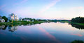 Cape cod twilight panorama the inlet in centerville at sunset at in massachusetts Royalty Free Stock Images