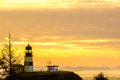 Cape Disappointment Lighthouse at sunrise, built in 1856 Royalty Free Stock Photo