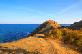 Cape emine bulgaria the lighthouse at at sunrise in the evening black sea coast forms the tip of balkan mountains Royalty Free Stock Photos