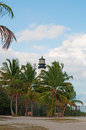 Cape Florida Lighthouse, beach, palms, vegetation, Bill Baggs Cape Florida State Park, protected area, Key Biscayne Royalty Free Stock Photo