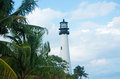 Cape Florida Lighthouse, beach, vegetation, Bill Baggs Cape Florida State Park, protected area, palms, Key Biscayne Royalty Free Stock Photo