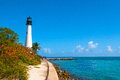 Cape florida lighthouse at noon,key biscayne,miami,florida Stock Image