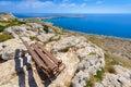 Cape Greco coastline bench view,cyprus Royalty Free Stock Photo