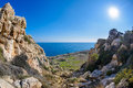 Cape greco view a down a rock ravine on a walking trail of in the famagusta area of cyprus Royalty Free Stock Photos