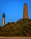 Cape henry lighthouses the new and the old located on fort story in virginia beach va photo taken at sunset Stock Photography