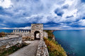 Cape Kaliakra fortress, Bulgaria, dramatic storm comming at Black Sea. Old abandoned fortress by the sea. Important Royalty Free Stock Photo