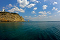 Cape limen burun crimea and rock the sail ukraine big yalta district gaspra Stock Photography