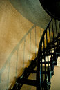 Cape meares lighthouse iron stairs black with handrail photographed in late evening light Royalty Free Stock Photo