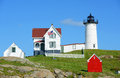 Cape neddick lighthouse old york village maine nubble at usa Royalty Free Stock Images