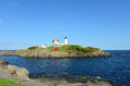Cape neddick lighthouse old york village maine nubble at usa Stock Images