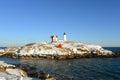 Cape neddick lighthouse old york village maine nubble at in winter usa Stock Image