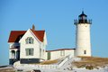 Cape neddick lighthouse old york village maine nubble at in winter usa Stock Image