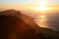 Cape point sunset on the table mountain in Royalty Free Stock Image