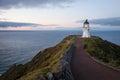 Cape Reinga lighthouse at dusk Royalty Free Stock Photo