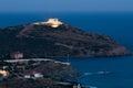 Cape Sounion, Poseidon's temple, Attica, Greece, twilight time Royalty Free Stock Photo