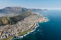 Cape Town aerial shot with focus on Sea Point Royalty Free Stock Photo