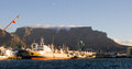 Cape town harbour and table mountain south africa the in with the characteristic landmark in the background Stock Image