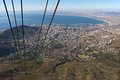 Cape Town seen from Table Mountain cable car Royalty Free Stock Photo