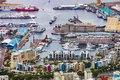 Elevated view of the V&A Waterfront in Cape Town harbor Royalty Free Stock Photo