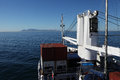 Cape town south africa sea arrival rms st helena by travel on ship clear blue sky over table mountain Stock Photos