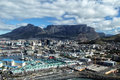 Cape town and table mountain aerial view of shot from a helicopter Royalty Free Stock Photo