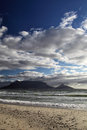 Cape town and table mountain seen from the beach of view Royalty Free Stock Photo