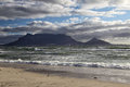 Cape town and table mountain seen from the beach of view Stock Photo