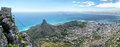 Cape town view on lion s head and signal hill from the top of table mountain Stock Photos