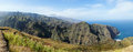Cape verde viewpoint panoramic shot on mountains crops and ocean in santo antao Royalty Free Stock Photography