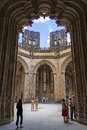 Capelas imperfeitas of the batalha monastery portugal july tourists stroll around interior unfinished chapels Royalty Free Stock Images