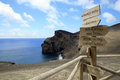 Capelinhos volcano faial azores view over the of island Royalty Free Stock Images