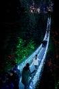 Capilano Suspension bridge lighted up at night Royalty Free Stock Photo