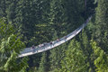 Capilano suspension bridge vancouver british columbia the in which spans meters across the river is a major tourist Royalty Free Stock Photo