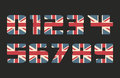 Capital 3d numbers with UK flag texture isolated on black background. Vector illustration. Element for design. Kids alphabet.