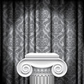 Capital on gray background isolated raster version of vector image of the of ancient column against a illuminated fabric with Stock Photography