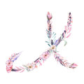 Capital letter X of watercolor pink and purple flowers Royalty Free Stock Photo