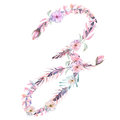 Capital letter Z of watercolor pink and purple flowers Royalty Free Stock Photo
