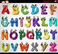 Capital letters alphabet cartoon illustration Royalty Free Stock Photo
